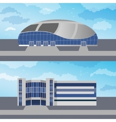 Set with two modern buildings vector