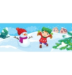 Girl with snowman enjoy snow vector