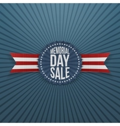 Memorial day sale greeting badge and ribbon vector