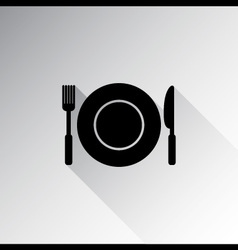 Kitchen icon of dish fork and knife vector