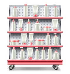 Supermarket shelves with cosmetics vector