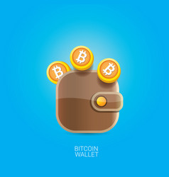 Bitcoin wallet icon with coins vector