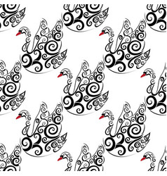 black swan seamless repeat pattern vector image