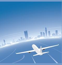 Boston skyline flight destination vector