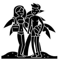 couple on beach summer vacation woman and man on vector image