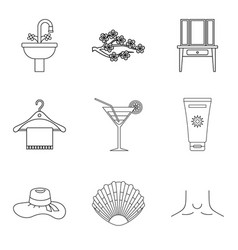 cream for body icons set outline style vector image