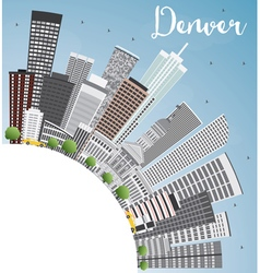 Denver skyline with gray buildings vector
