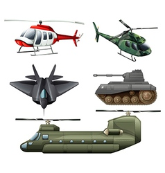 Fighting jetplane choppers cannon and tank vector