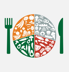 food icons in circle vector image vector image