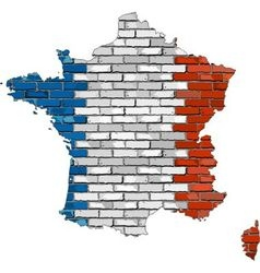 France map on a brick wall vector image