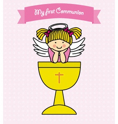 Girl First Communion card vector image vector image
