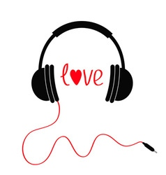 Headphones with red cord love card text and heart vector