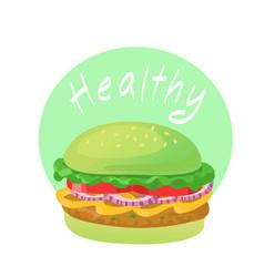 Healthy food green vegetable burger vector