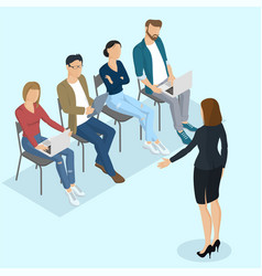 Isometric people briefing vector