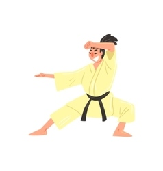 Karate professional fighter in kimono with black vector