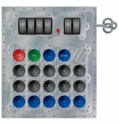 mechanical calculator vector image