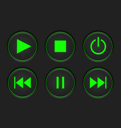 Media player main buttons set black and green vector