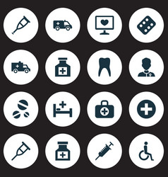 Medicine icons set collection of healer peck vector