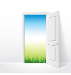 object opened door grass vector image vector image
