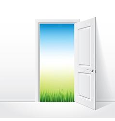 object opened door grass vector image