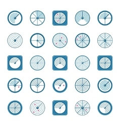 Radar flat icons set vector