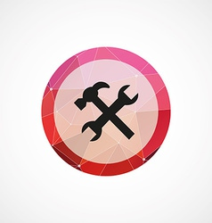 repair circle pink triangle background icon vector image vector image