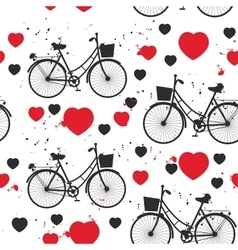 Seamless pattern black bike and red heart on white vector