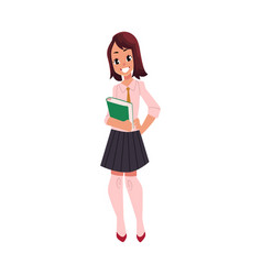 student pupil girl in school uniform with a book vector image