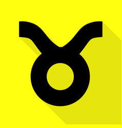 Taurus sign black icon with flat vector