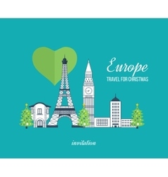 Travel to Europe for christmas Merry Christmas vector image vector image