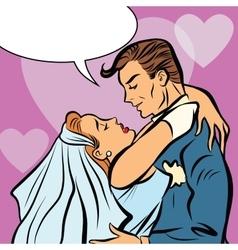 Wedding bride and groom love heart hug vector