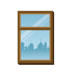 Window frame glass urban building view vector