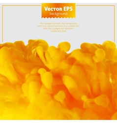 Yellow ink cloud in water abstract background vector