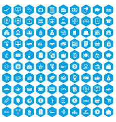 100 payment icons set blue vector image vector image