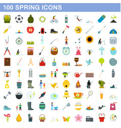 100 spring icons set flat style vector