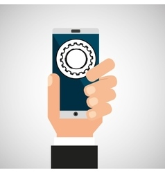 Hand smartphone progress network social vector