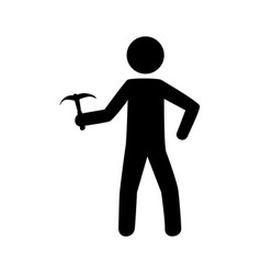 monochrome pictogram with climbing man with ice vector image