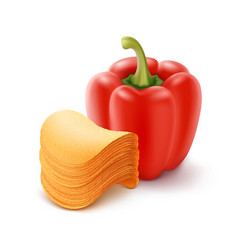 Chips stack with paprika close up on background vector
