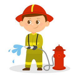 Cartoon fireman with a hose in his hands vector