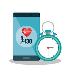 smartphone with cardiology app vector image