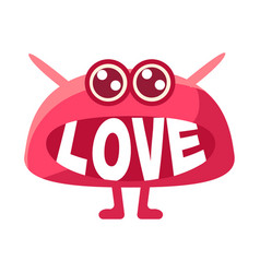 Pink blob saying love cute emoji character with vector