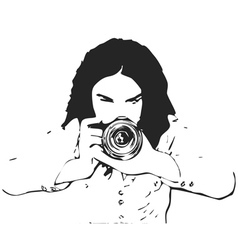 Girl photographer vector