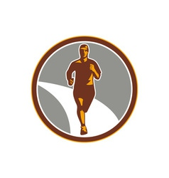 Marathon Runner Front Circle Retro vector image