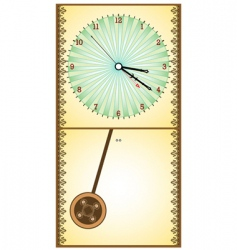 Wooden pendulum clock vector