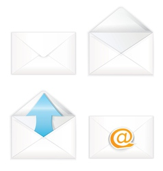 White open closed envelope icon set vector
