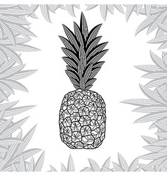 Pineapple fruit black and white design vector