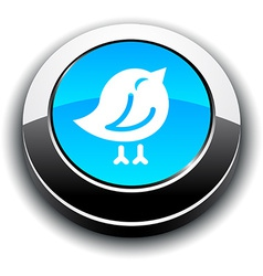 Bird 3d round button vector