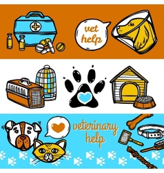 Veterinary banners set vector