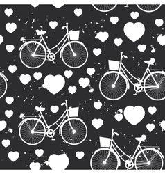 Seamless pattern white bike and heart on black vector