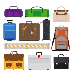 Traveling luggage icons vector